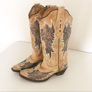 Corral Tan Floral Rose Angel Wing Cowgirl Boot 7.5